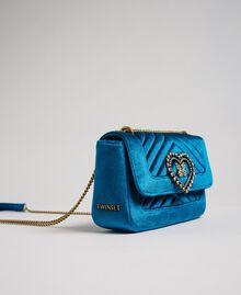 Small velvet shoulder bag Blue Caribbean Blue Woman 192TO8073-03