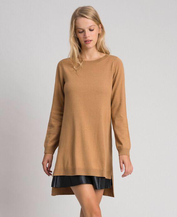 Robe en laine et cachemire avec similicuir