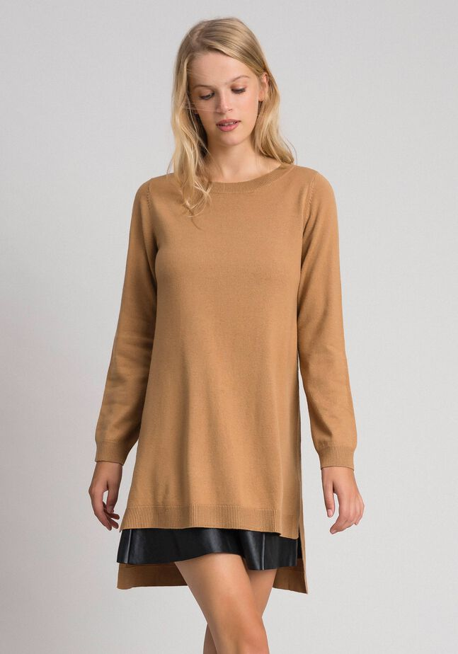 Wool and cashmere dress with faux leather