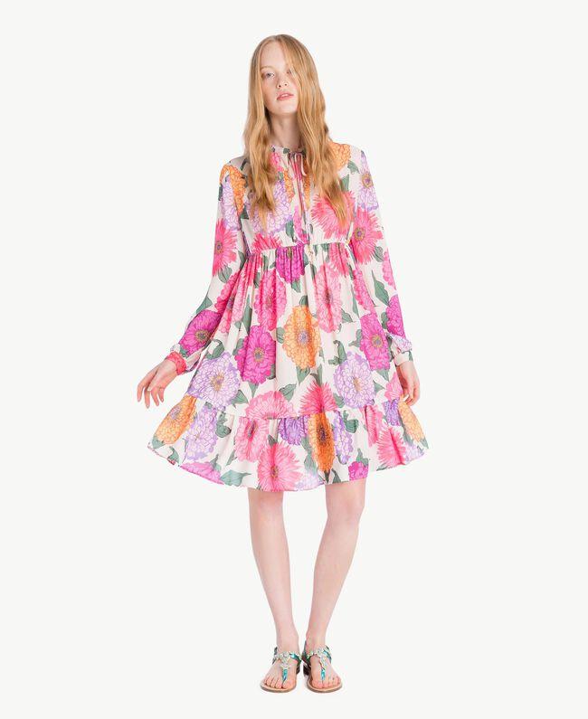 Kleid mit Blumenprint Makropfingstrosen-Print Frau NS82AB-01
