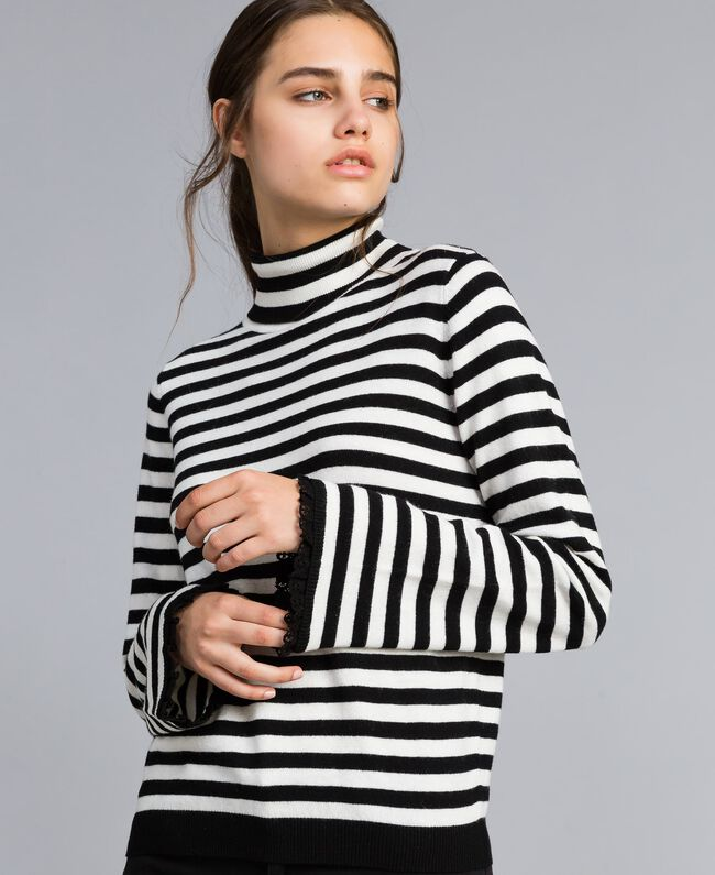 Striped cashmere blend mock neck jumper Black / Mother-of-pearl White Stripe Woman SA83FN-04