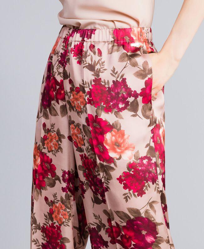 Pantalon palazzo avec imprimé floral Imprimé Floral Rose Nude Femme SA82E3-04