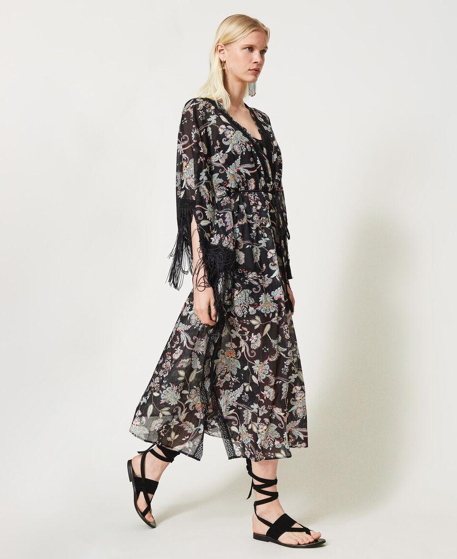 Vestido caftán de muselina de flores Estampado Flor India Negro Mujer 211TT2683-03