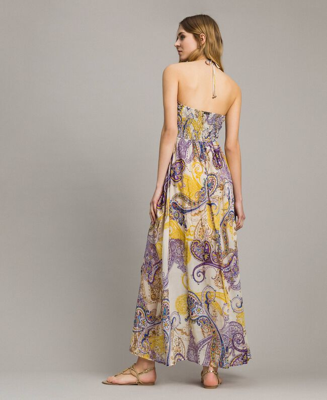 """Long dress with paisley pattern """"Milkyway"""" Beige / Paisley Print Woman 191LM2SLL-04"""