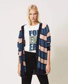"""T-shirt with glitter print """"Forever Mid Blue"""" / """"Off White"""" Floral Print Woman 202MP241B-0T"""