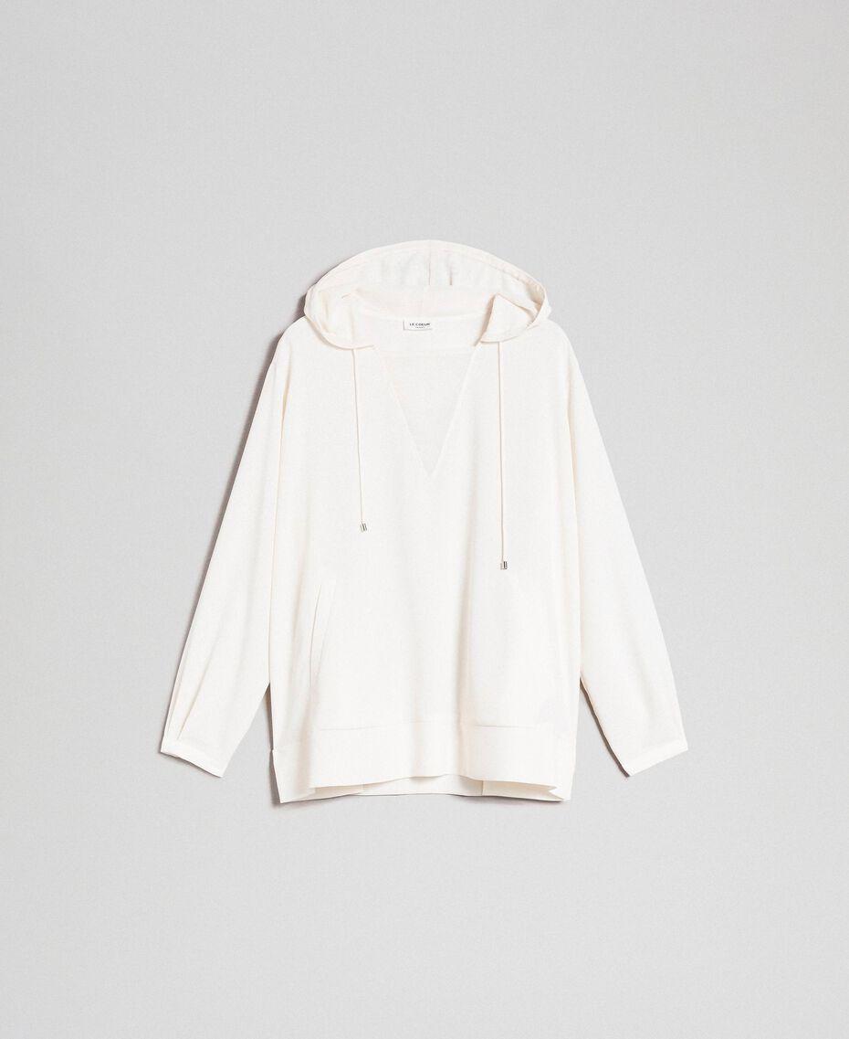 Blouse en crêpe de Chine avec capuche Blanc Neige Femme 192ST2080-0S