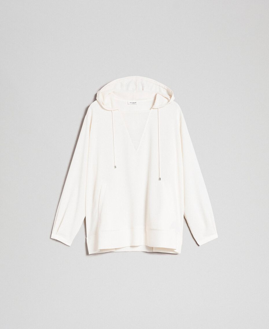 Hooded crêpe de Chine blouse White Snow Woman 192ST2080-0S