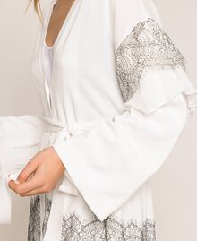 Maxi cardigan avec dentelle bicolore et plissé Blanc Antique White Femme 201TT3140-04