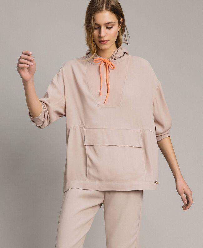 Crêpe sweatshirt with maxi pocket Delicate Pink Woman 191LL23AA-01