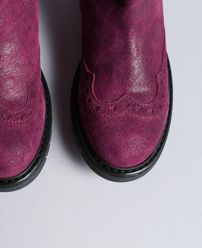"Beatle-Boots aus Leder in Glanzoptik ""Sweet Grape""-Violett Kind HA88EA-04"