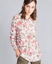 Rose print viscose blouse Cloud Rose Pink Rose Print Woman JA82PN-02