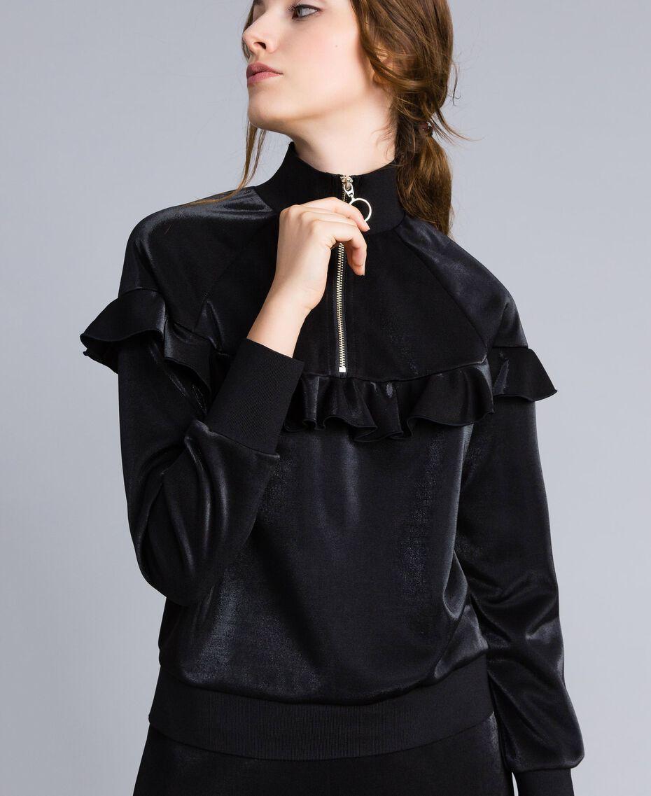 Толстовка из технической ткани с оборками Черный женщина IA85BB-05