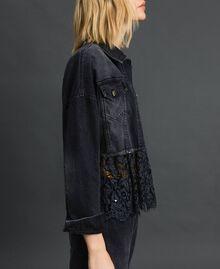 Giacca boxy in jeans e pizzo mélange Denim Nero Donna 192MP2200-02