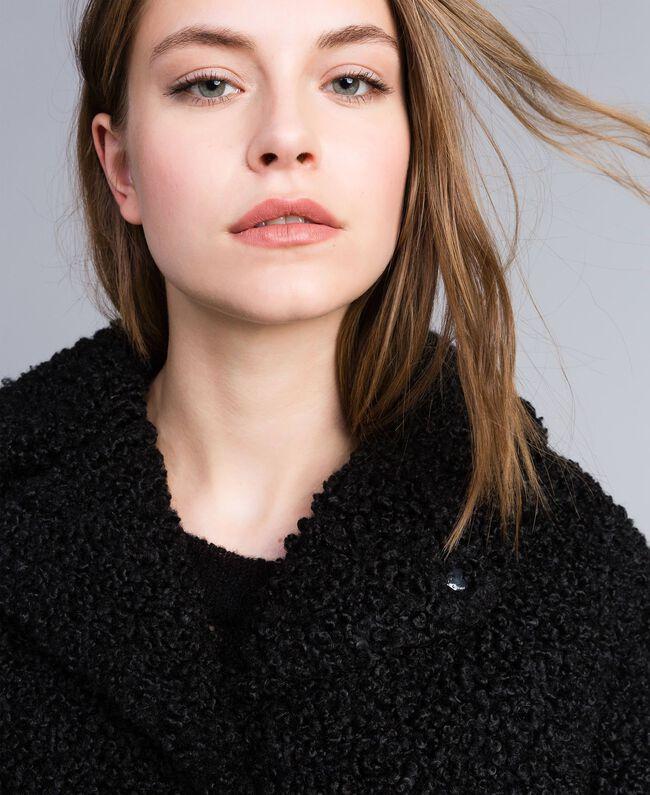 Manteau en faux agneau Noir Femme JA82KN-04