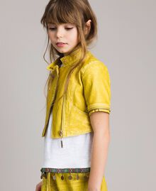 "Faux leather jacket with zip ""Bamboo"" Yellow Child 191GJ2103-04"