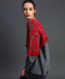 Jacquard maxi jumper with ethnic motif Ethnic Melange Grey / Pomegranate Jacquard Woman 192TP3042-02