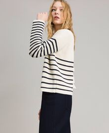 Striped top with eyelets Deep Blue / Snow Striping Woman 191TP3121-04