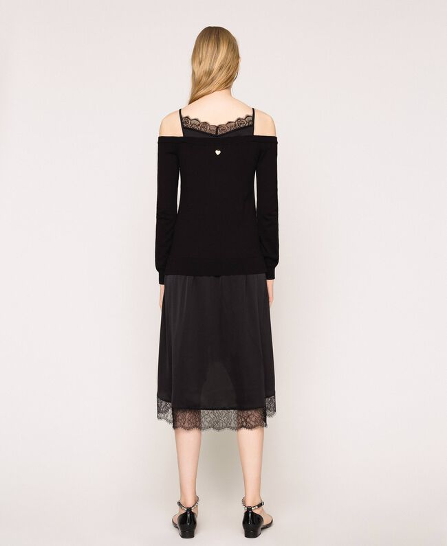 Knit dress with slip effect satin Black Woman 201TP3070-04