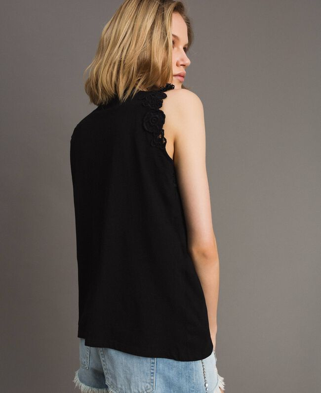 Tank top with floral patch White Woman 191TT2201-04