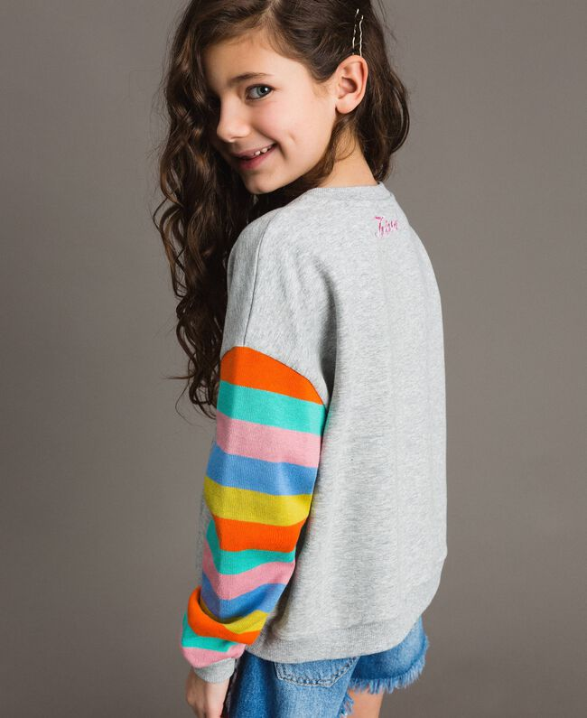 Cotton knitted striped sweatshirt Melange Grey / Multicolour Striping Child 191GJ2451-03