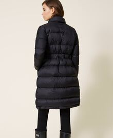 Long puffer jacket with velvet drawstring Black Woman 202MP2541-03