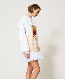 Maxisudadera color block con estampado Bicolor Blanco «Óptico» / Rosa «Light Apricot» Mujer 211MT2450-03