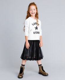 Sweat en similicuir et point de Milan Off White Enfant GA82LV-02
