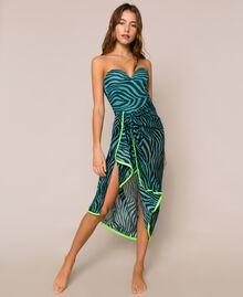 "Animal print sarong ""Atlantic Deep"" Green Zebra Print Woman 201LB4GHH-03"
