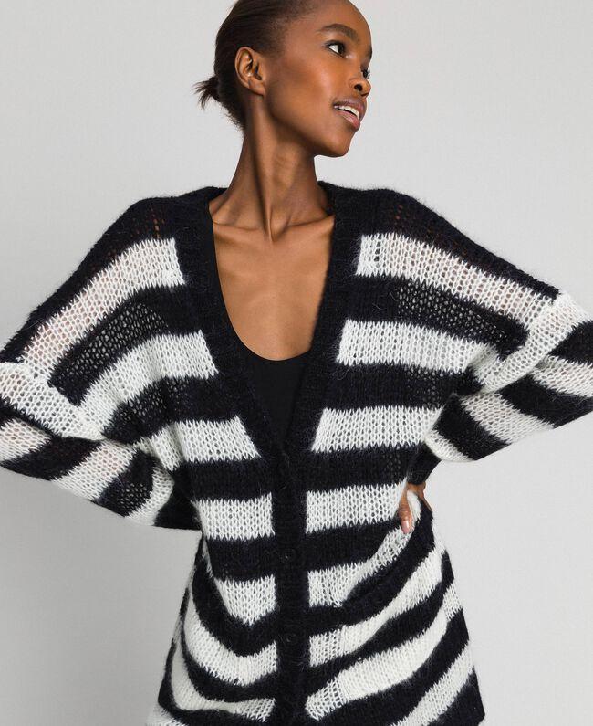 "Striped mohair maxi cardigan Black / ""Papyrus"" White Stripe Woman 192TP3272-04"