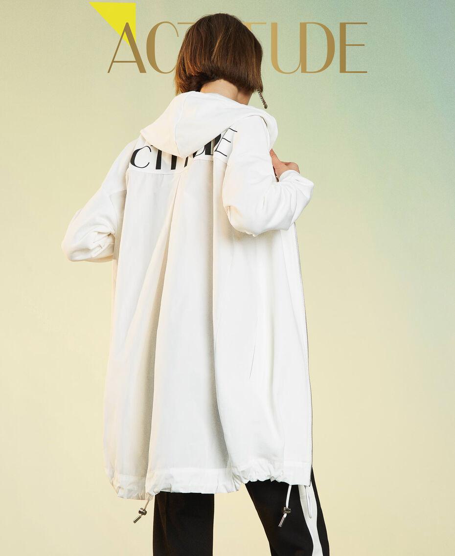 Maxi sweat-shirt avec insertions en taffetas Blanc Vanille Femme 211MT2060-01