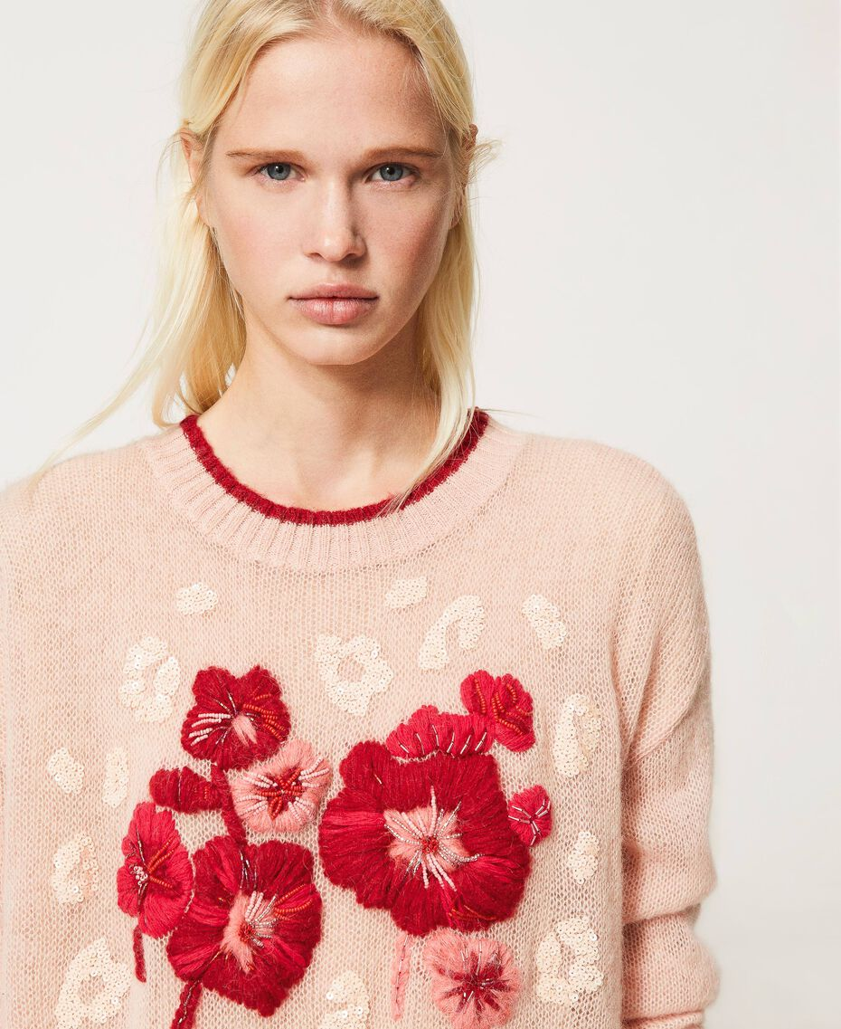 Mohair blend jumper with floral embroidery Peach Woman 202TP3430-01