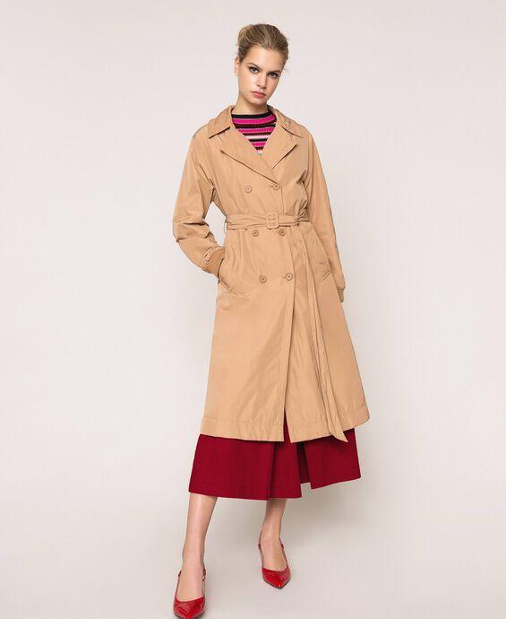 Double breasted taffeta trench coat