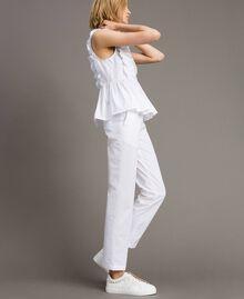 Poplin drainpipe trousers White Woman 191TT2231-01