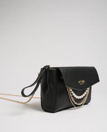 Faux leather shoulder bag with pearls and chains Black Woman 192MA7052-01