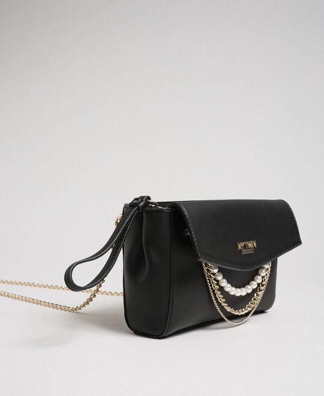 Sac à bandoulière en similicuir avec perles et chaînes Noir Femme 192MA7052-01