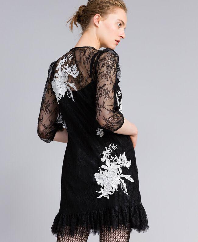 Short Valencienne lace dress Black Woman PA824P-03
