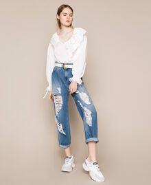 Jeans loose fit con rotture Denim Blue Donna 201MT2344-0T