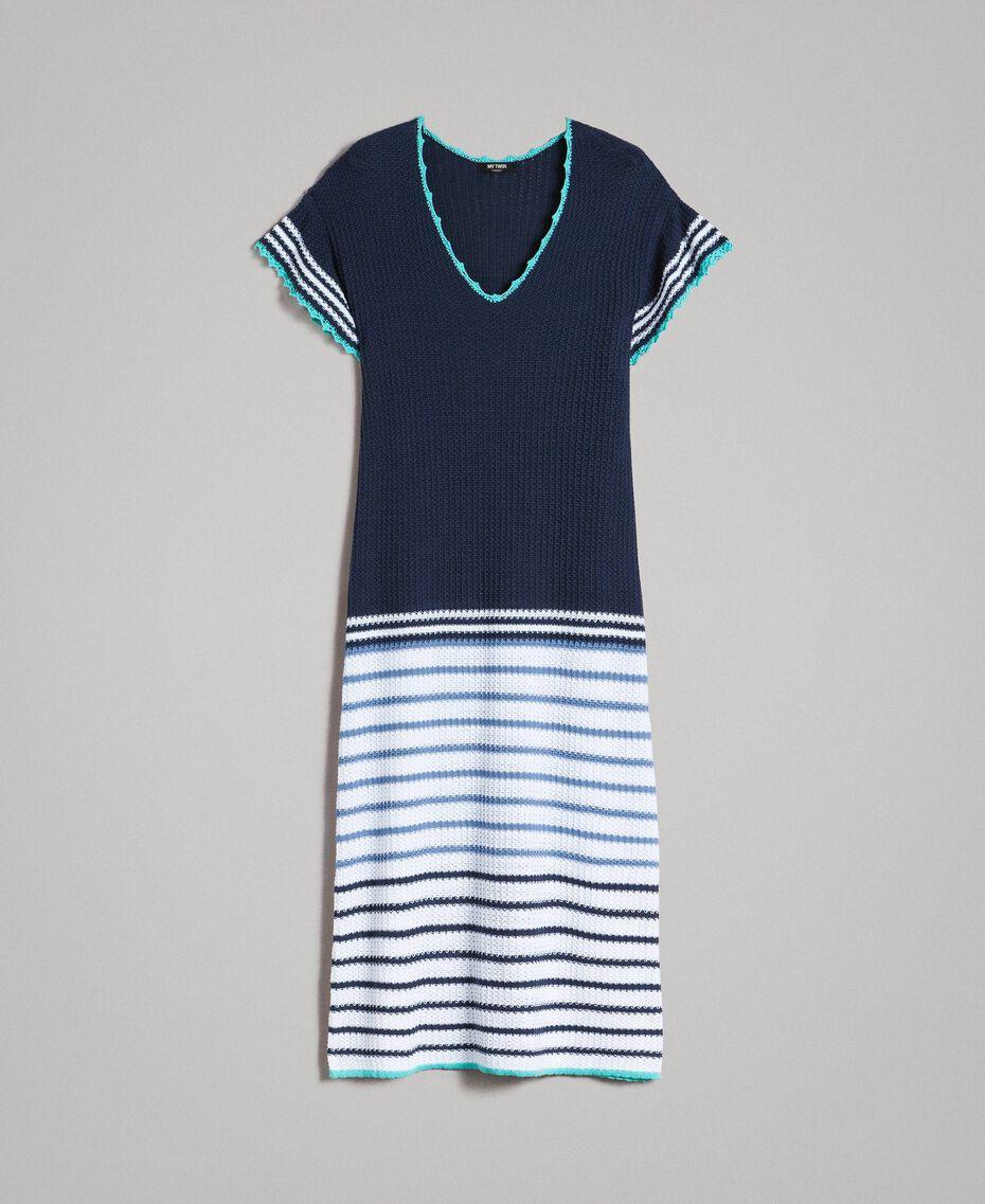 Robe longue ajourée à rayures Multicolore Rayures Bleu Nuit Femme 191MT3082-0S