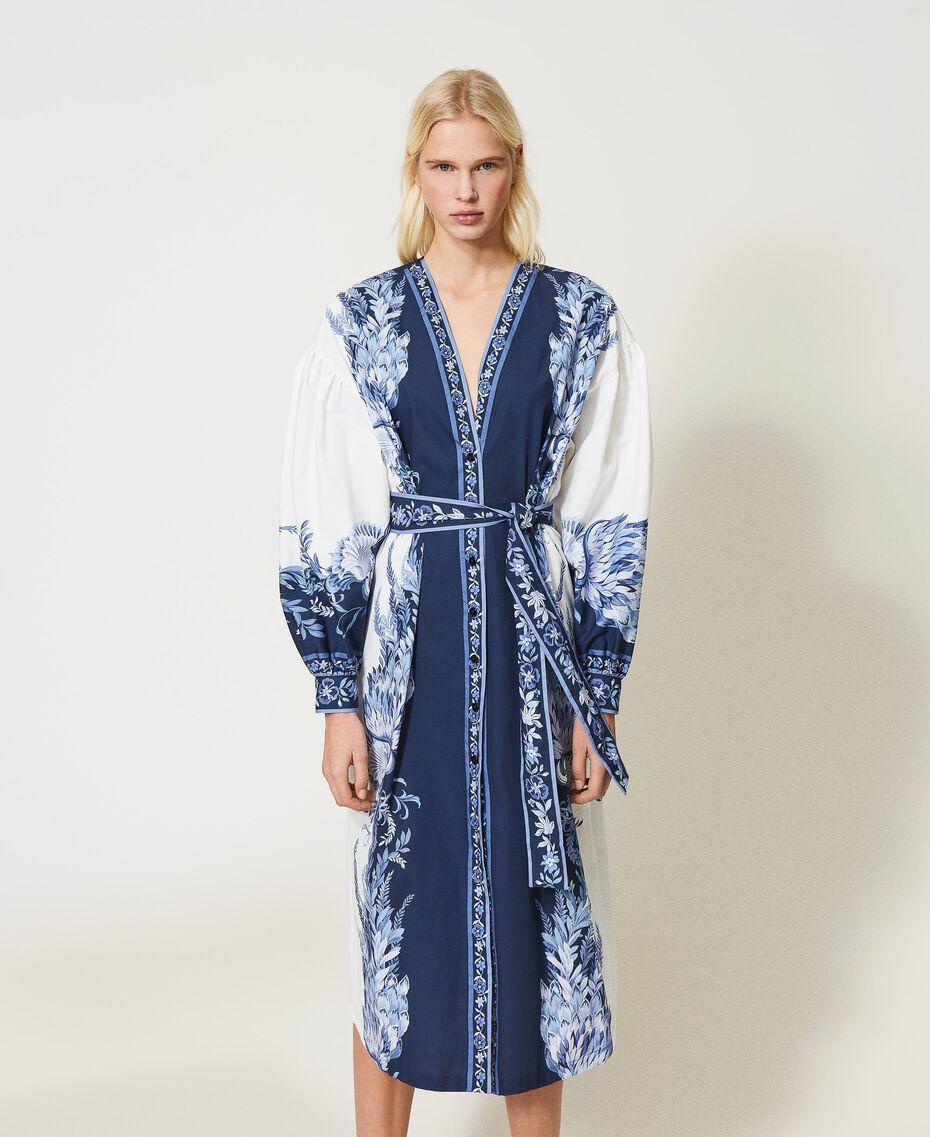 "Poplin shirt dress with print ""Patch Porcelain Blue And White"" Blue Woman 211TT2195-01"