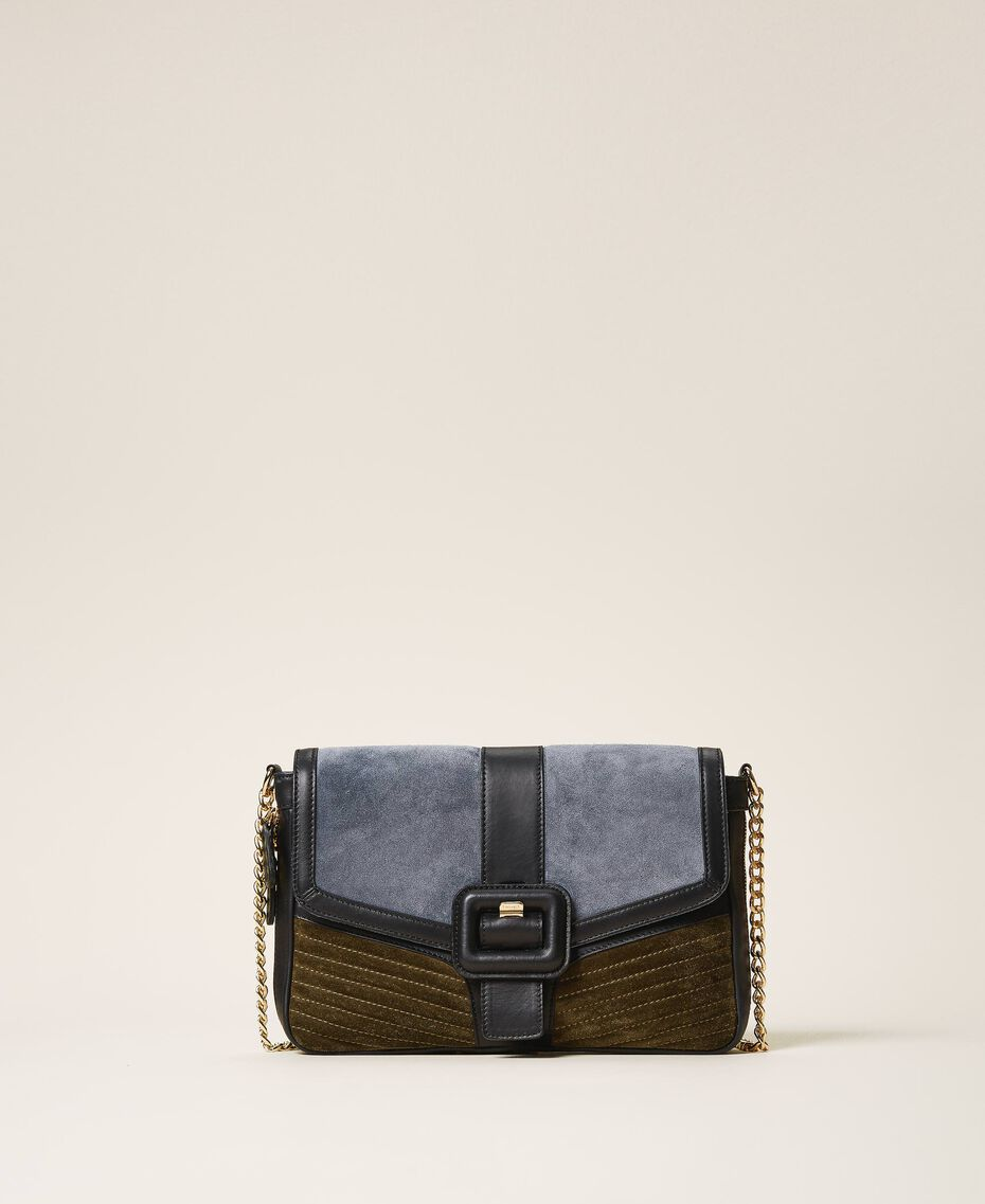 """Large Rebel suede and smooth leather shoulder bag Multicolour Ash Light Blue / """"Olive Green"""" Woman 202TB7052-02"""