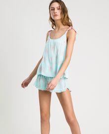 Floral jacquard short pajamas Mousse Blue Leaf Print Woman 191LL2FCC-0S