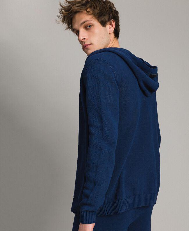 Gemischter Baumwoll-Strickpullover mit Kapuze Blackout Blau Mann 191UT3080-03