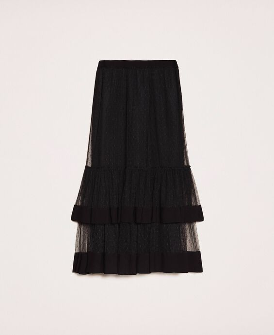 Crêpe de Chine skirt with plumetis tulle