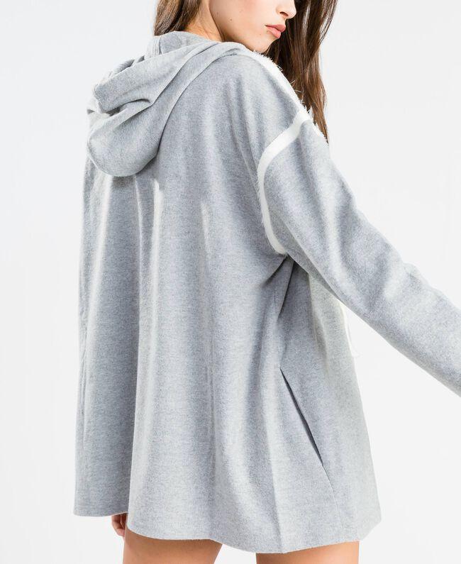 Cotton blend sweatshirt with hood Medium Gray Mélange Woman LA8MDD-03