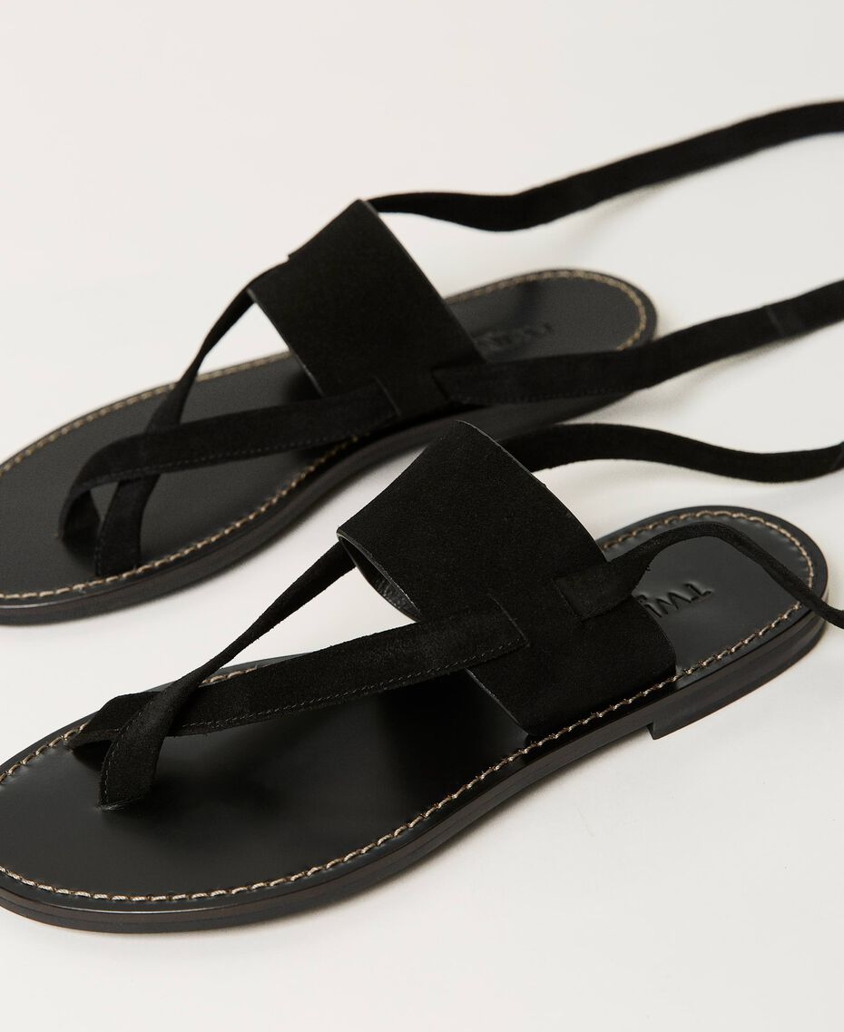 Suede thong sandals Black Woman 211TCT060-01