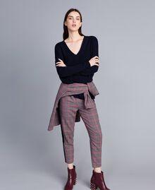 Langer Pullover aus Wolle und Kaschmir Nachtblau Frau TA83AE-01