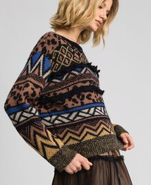 Wool and mohair jumper with jacquard patterns Geometric Animal Print Mix Jacquard Woman 192ST3190-02