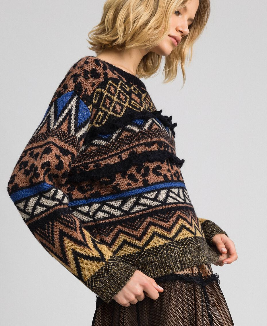 Pull en laine et mohair avec motifs jacquard Jacquard Mélange Géométrique Animalier Femme 192ST3190-02