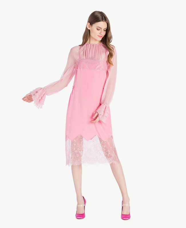 "Silk dress Two-tone ""Doll"" Pink / ""Hydrangea"" Pink Woman PS82WA-01"