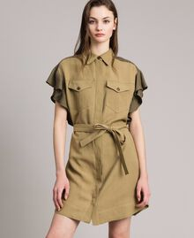 "Natural canvas two-tone shirt dress Two-tone ""Olive"" Green / Antique Bronze Woman 191TT2440-02"